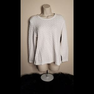 Karen Scott Petites Cable Knit White Sweater